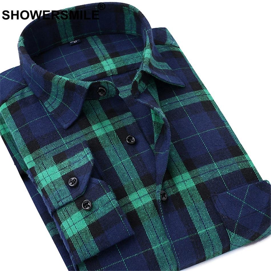 abe60691e Compre SHOWERSMILE Camisa Xadrez Verde Homens De Manga Longa De Algodão Flanela  Camisas Masculinas Regular Fit Camisa Quadriculada Vermelha Roupas De ...