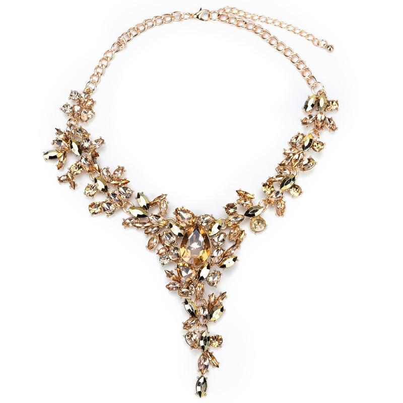 Dazzle Water Drop Women Necklace Chain with Full Crystal Beads & Rhinestone Novelty Costume Fashion Jewelry