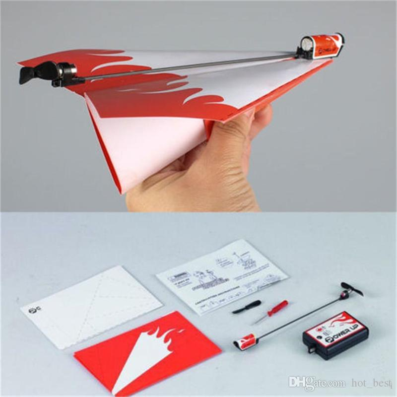 Kid DIY Classic Education Flying Power Up Paper Plane Electric Airplane Conversion Model Kit Gifts Toys For Children Create