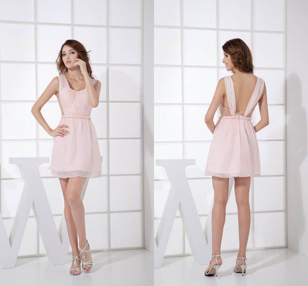 4bbc4cc89ba 2018 Simple Pink Chiffon Short Bridesmaid Dresses Sleeveless Ruffles  Special Back Design Mini Homecoming Party Dresses Junior Bridesmaid Dresses  Lace ...
