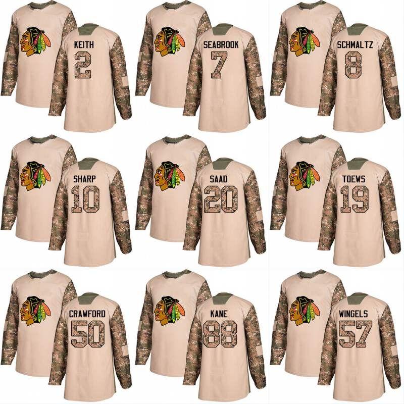 bc624e731 2018 2018 Camo Veterans Day 20 Saad 10 Patrick Sharp 88 Patrick Kane 2  Duncan Keith 7 Brent Seabrook Chicago Blackhawks Custom Hockey Jerseys From  ...