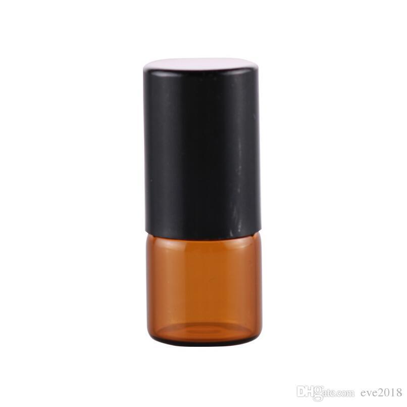 Vazio Mini 2 ml Âmbar Rolo em Garrafas De Vidro De Óleo Essencial Garrafa de Perfume Líquido Com Bola de Rolos de Metal LX2394