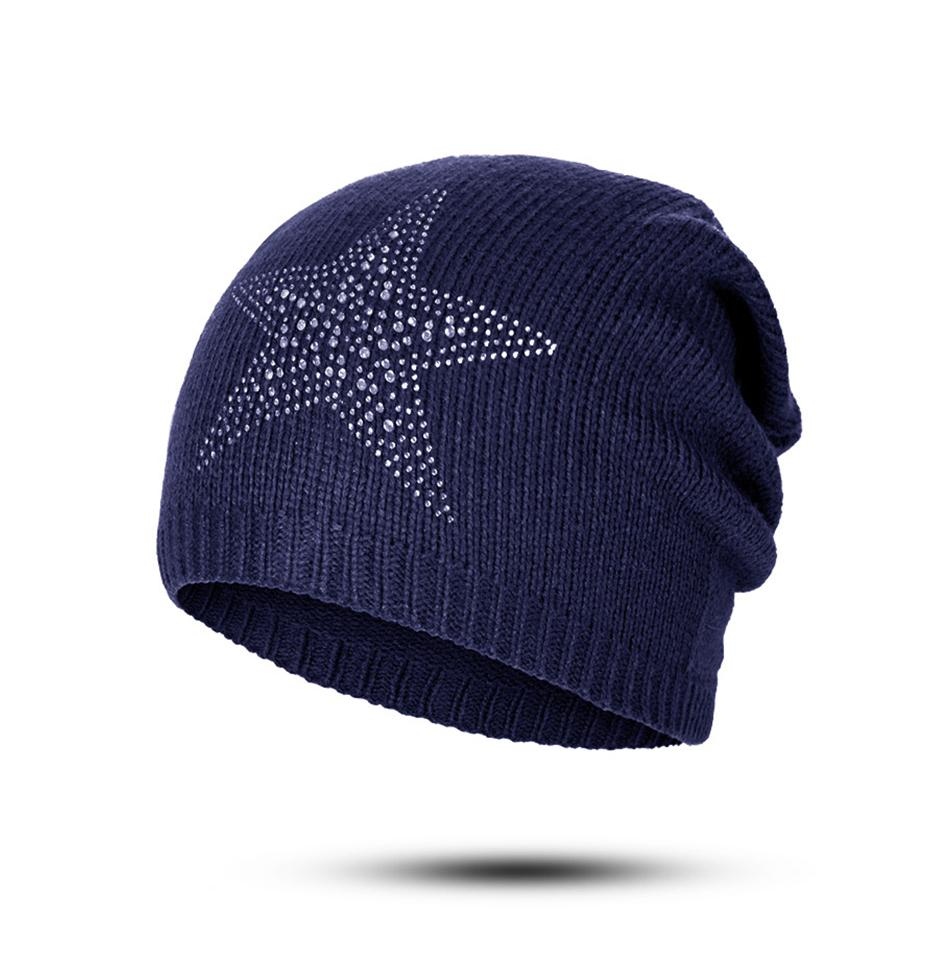 66aea35cc Winter Knitted Solid Beanies Cap Warm Soft Skull Hat Beanie Hat for Women