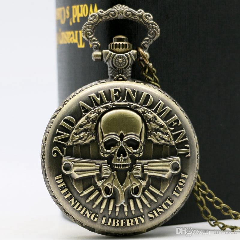 Extremely Cool 2ND AMENDMENT Guns Design Pocket Watch Vintage Pendant Watch Fashion Gifts For Men Youth