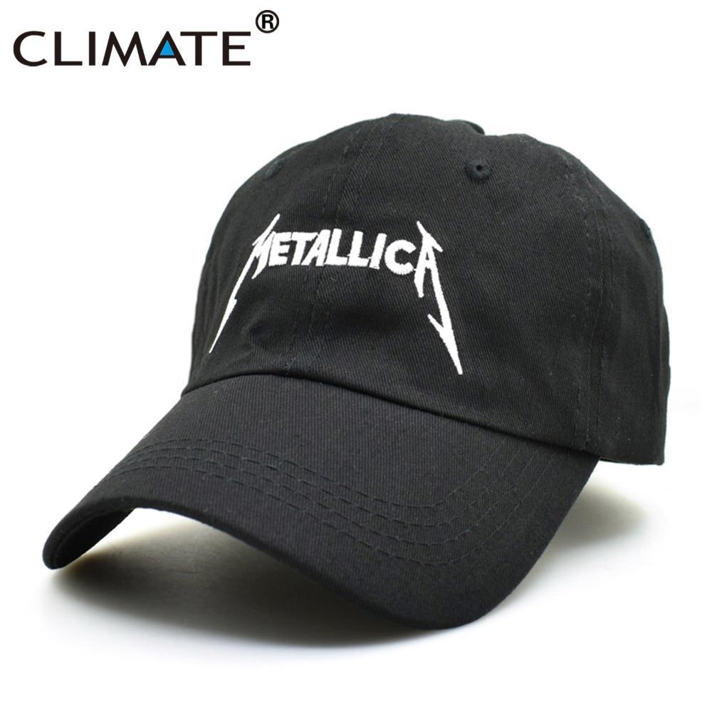 Compre CLIMA Mujeres Hombres Cool Rock Gorras De Béisbol Negras Metallica  Banda Fans Gorra Metal Rock Music Fans Algodón Béisbol Camionero Gorras  Sombrero A ... ed3af78c85f