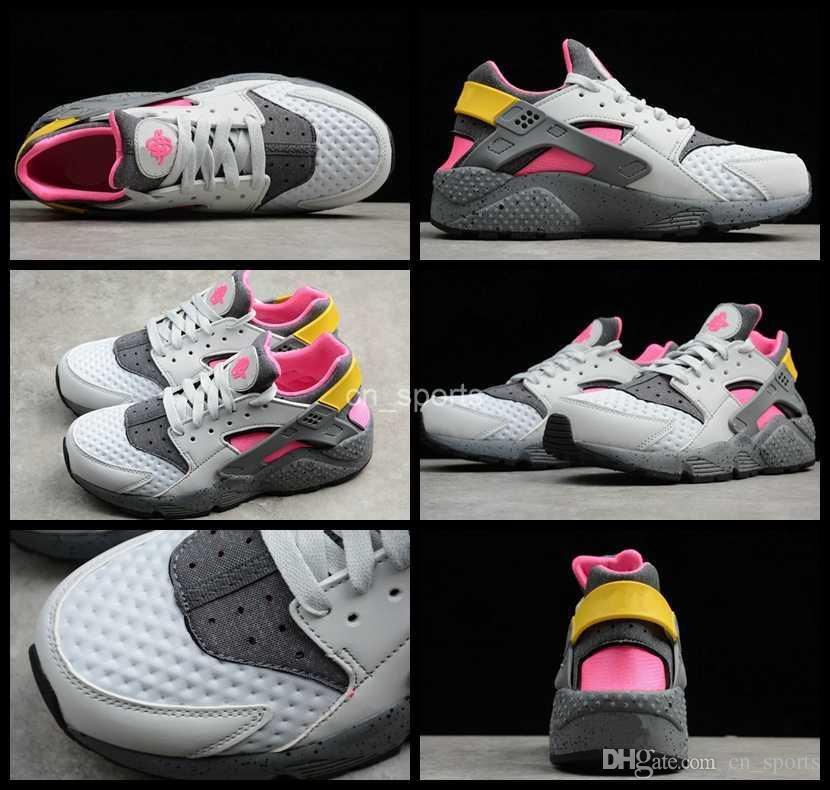 promo code 94345 9c72e Acquista 2018 New Air Huarache Run Premium Uomo Donna Running Shoes Rosa  Giallo Sneakers Triple Huaraches Mens Womans Trainers Huraches Scarpe  Sportive A ...