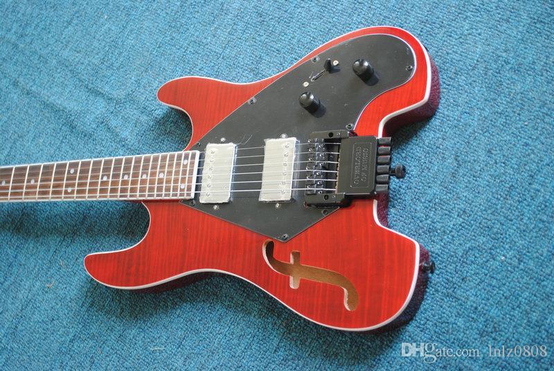 Spedizione gratuita rosso 4 corde NO testa basso elettrico senza testa chitarre all'ingrosso