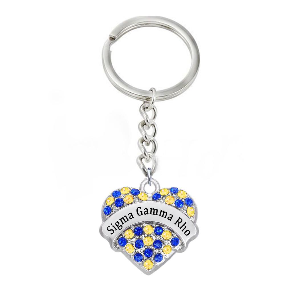 Double Nose Inlay Metal Greek Letters Sigma Gamma Rho Key Chain