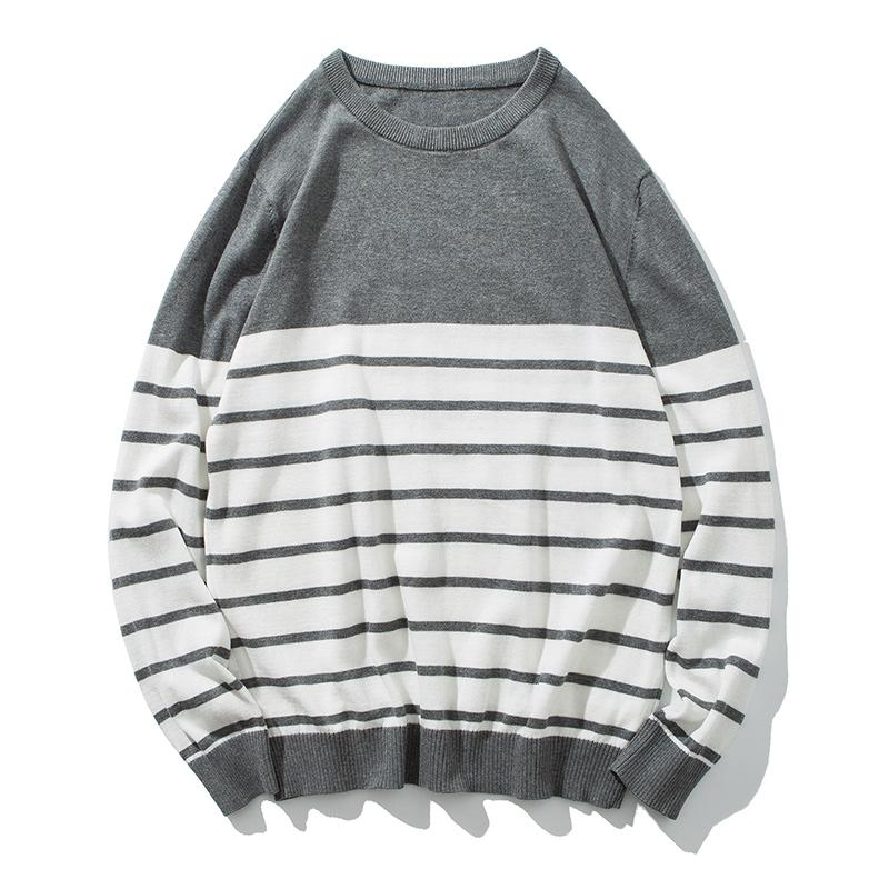 Fashion 3xl Mens Colour Blocking Knitted Sweater Male Casual