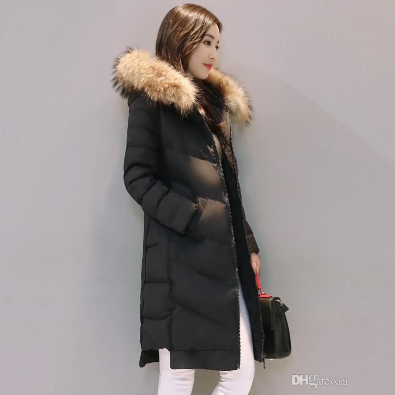 a80e83a6bd8 2019 Female Long Down Coats Womens Winter Jackets Hooded Raccoon Fur Collar White  Duck Down Parka Thicken Warm Tops M XXXL Slim Fit From Tomwei