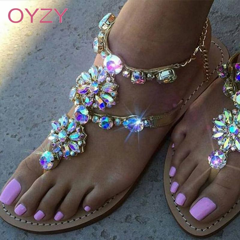 Sommer Sandalen Frauen Schuhe 2019 Mode Flache Sandalen Strass Kristall Schuhe Frauen Hausschuhe Flip-flops Sandalia Feminina 35-42 Frauen Sandalen