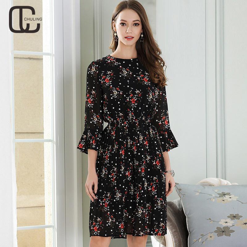 6da63d47996 2019 2018 Spring Summer Women S Floral Chiffon Dresses Elegant Black Print  Dress Casual Half Sleeve Plus Size Ladies Woman Dress 5XL From Chikui