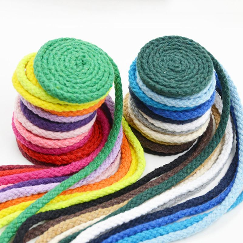 New!7mm Diy Accessories Twisted Round 100% Cotton Cord Decoration Rope  Colour Cotton Rope Hand Braided Drawstring 24 Colors