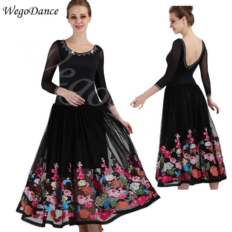 customized high-grade embroidery new style dress ballroom modern dance performance competition costume woman freeshipping