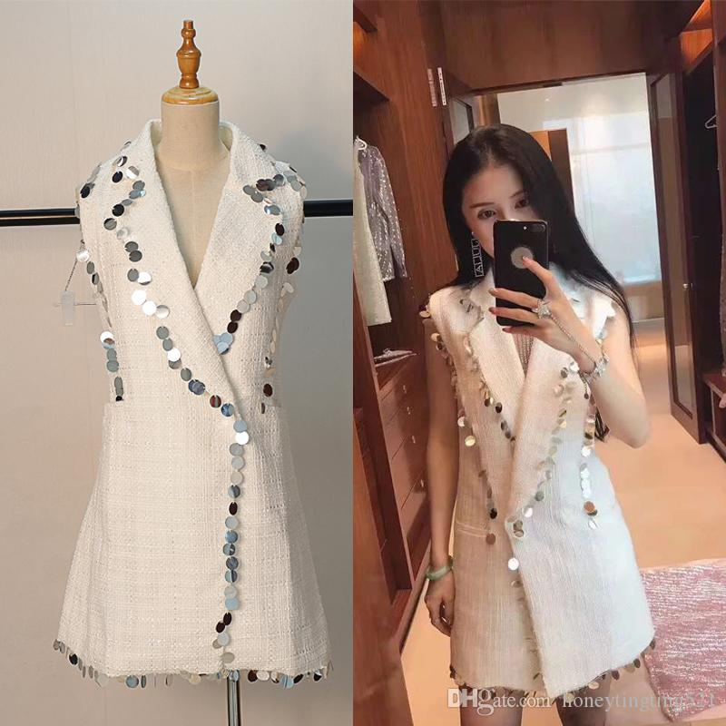 86fddbb2a68b 2019 2018 Autumn New Design Women'S Sleeveless Blazer Collar White  Paillette Patchwork Tweed Woolen Medium Long Suit Dress Plus Size SM From  ...