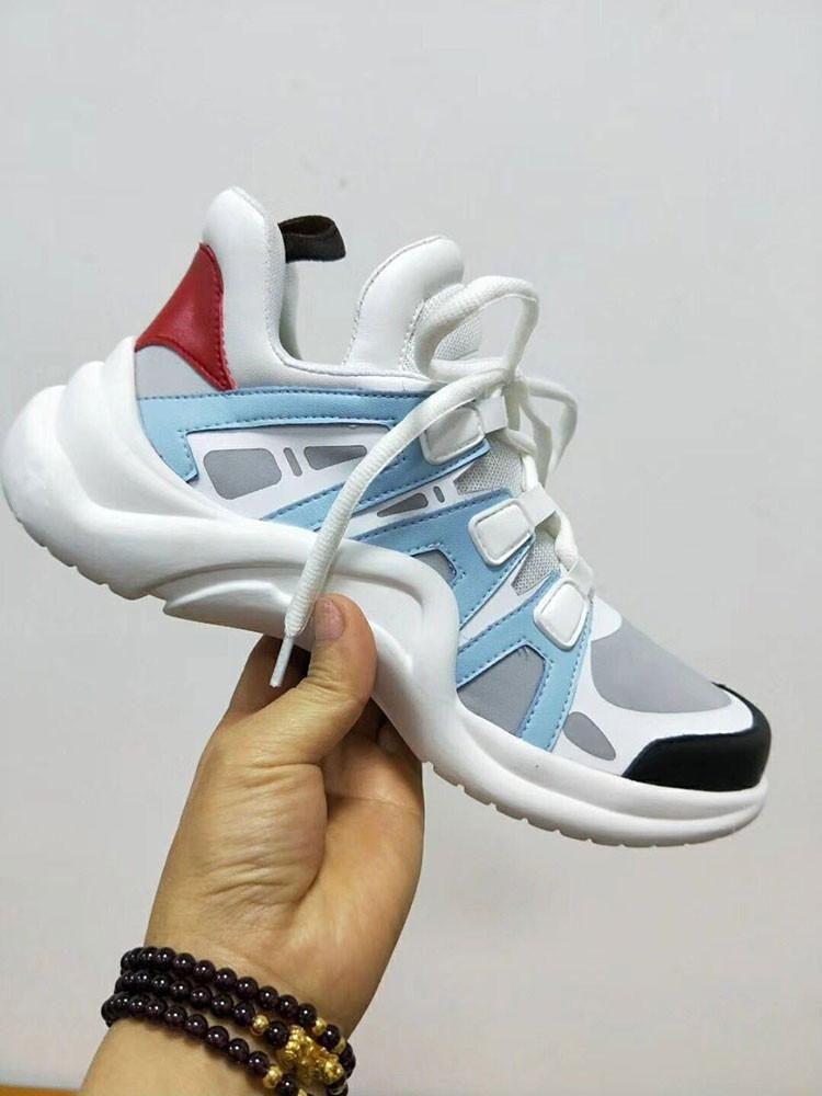06245549b20 Compre Mulheres Runway Plataforma Tênis Moda Malha Patchwork Lace Up  Sapatilha Ao Ar Livre Sapatos Casuais Sapatos De Tênis Queda Senhoras  Sapatilhas ...