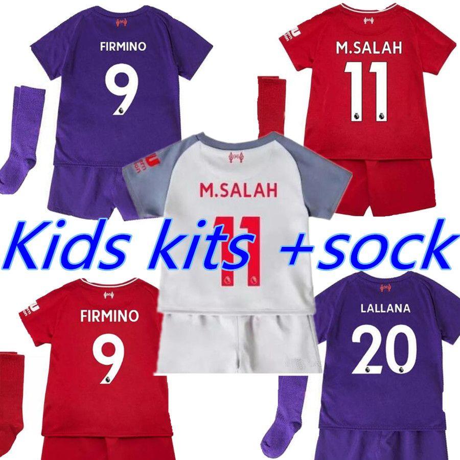 7f5df282296 M.SALAH Mane VIRGIL Kids Kits +socks Soccer Jersey 18 19 Home Away ...