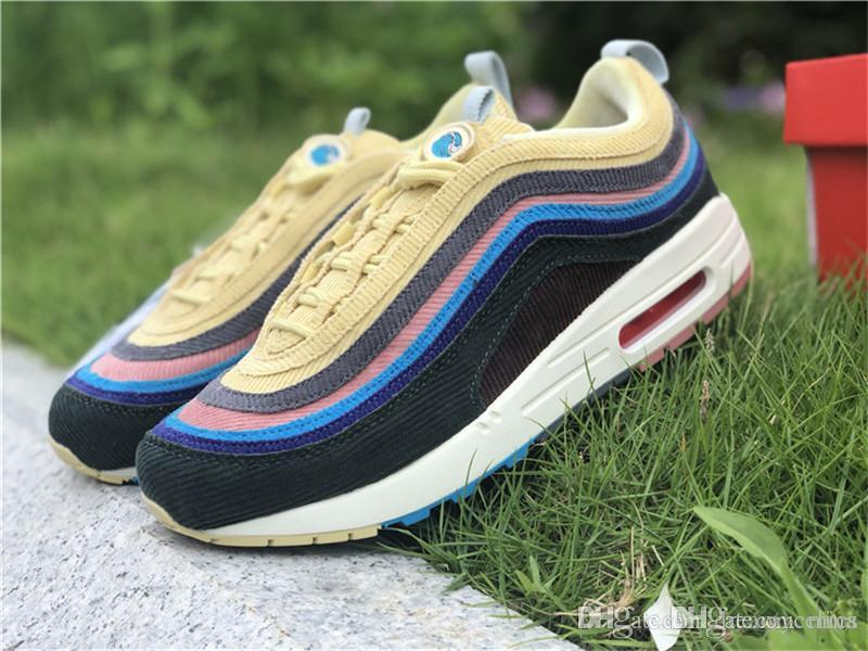 44ac5a6b01d532 2019 2018 2197AirMax 1 97 VF SW SEAN WOTHERSPOON Running Shoes Men Women  Authentic Sports With Original Box Lt Blue Fury Lemon AJ4219 400 From Mics