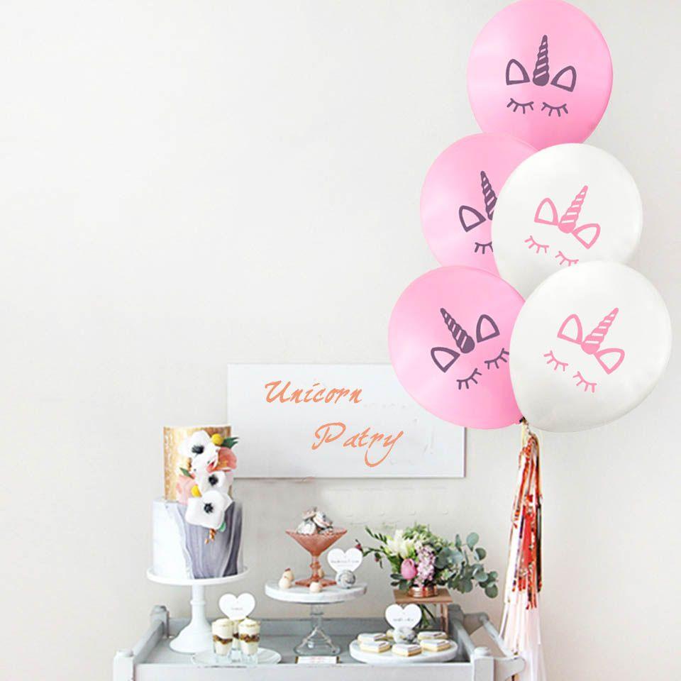 Yeni 100 adet / grup Moda Unicorn balonlar Mutlu Doğum Günü Partisi Süslemeleri Çocuklar Pembe Beyaz Karikatür Unicorn Balonlar Unicorn Parti Malzemeleri