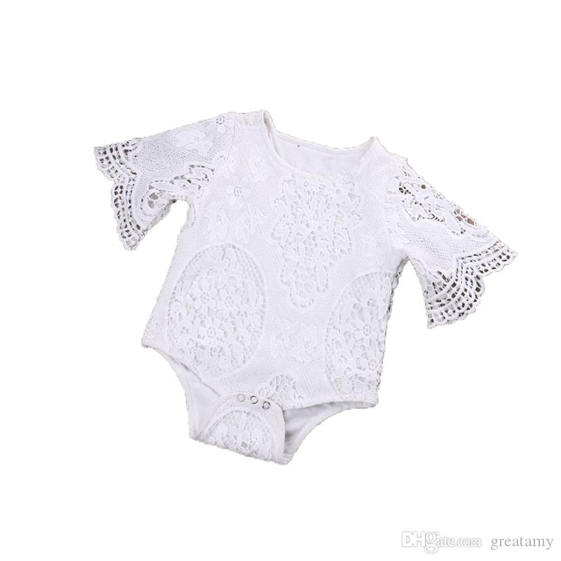 6af48c51c92f 2019 White Color Baby Romper Newborn Babies Lace Jumpers Toddler Jumpersuit Bat  Sleeve HaYi Clthoes Girls Oufit From Greatamy
