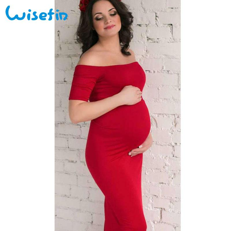 964529c608efb Wisefin Maternity Gown Women Pregnancy Maxi Dress Off Shoulder Pregnant  Midi Dress For Photo Shot Maternity Dresses Photography