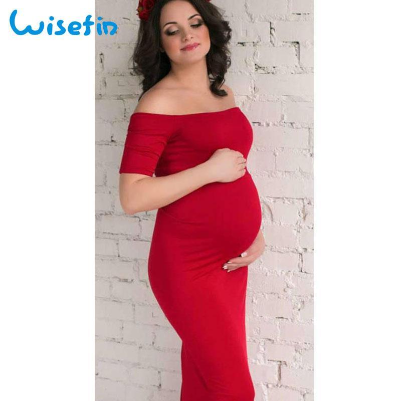 2018 Wisefin Maternity Gown Women Pregnancy Maxi Dress Off Shoulder ...