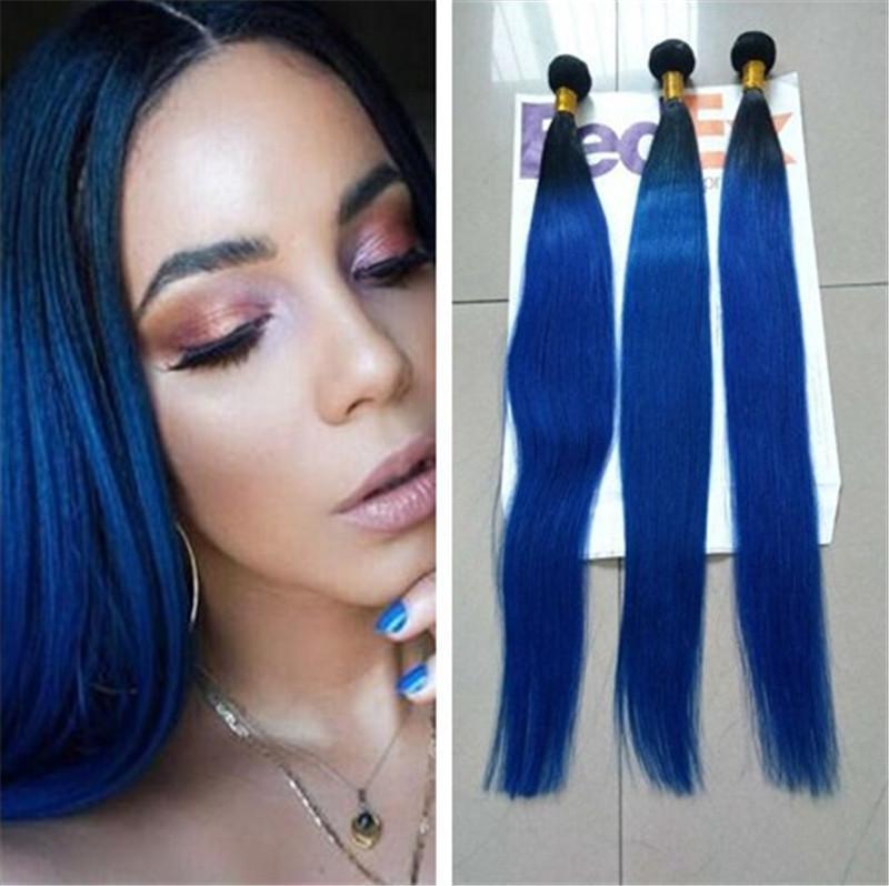 Brazilian Ombre Hair Bundles Blue Ombre Human Hair Extensions