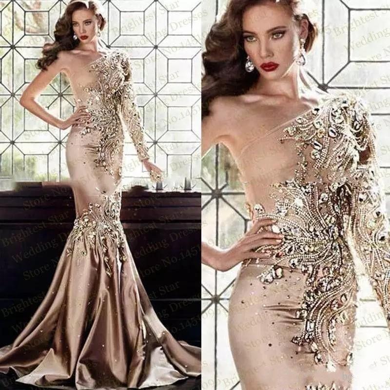 2019 New Sexy Luxury Zuhair Murad Gold Evening Dresses Abaya In Dubai One Shoulder Rhinestone Gowns Muslim Long Sleeve Mermaid Prom Dresses