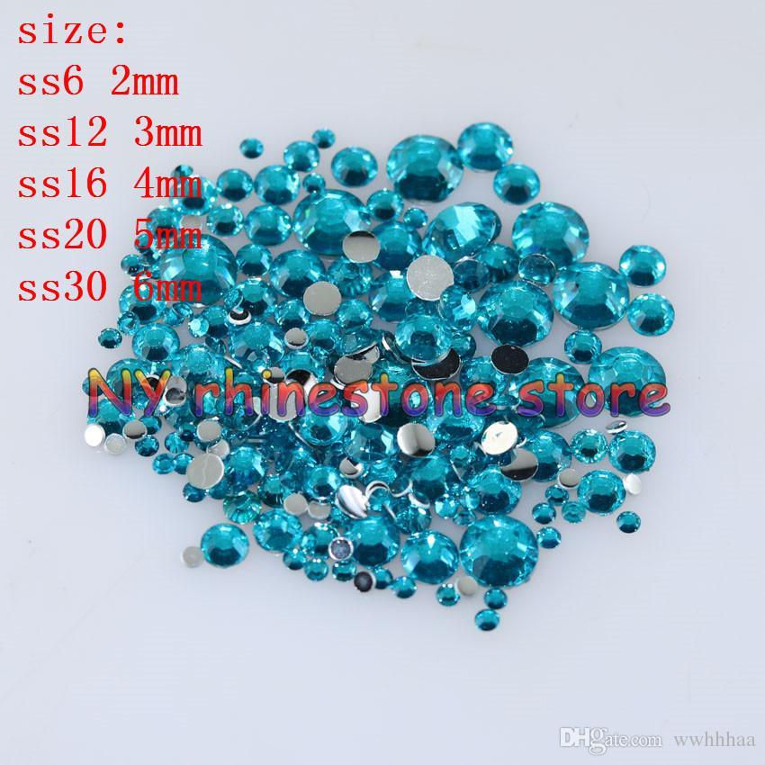 1000-/bag 2-6mm Peacock blue Resin Crystal Rhinestones FlatBack Super Glitter Nail Art Wedding Decoration Applique Non HotFix 14