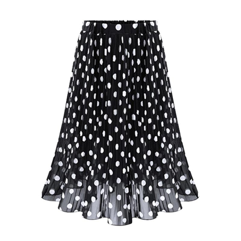 3cd51a74fc492 2019 2017 Fashion Summer Pleated Skirt Polka Dot Chiffon Skirt Women'S All  Match Slim Waist Slim Mid Women'S Skirts Plus Size From Vikey10, $38.78 |  DHgate.