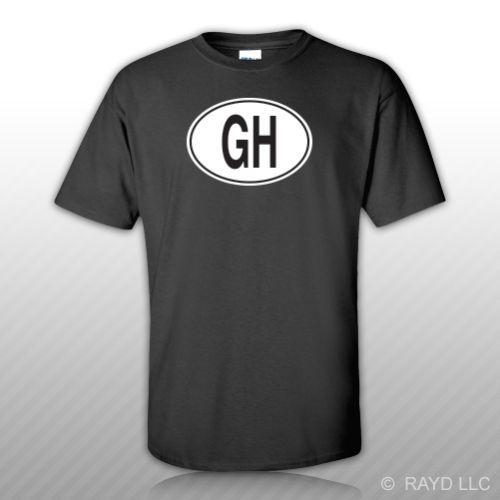 GH Ghana Country Code Oval T-Shirt Tee Shirt Free Sticker Ghanaian euro