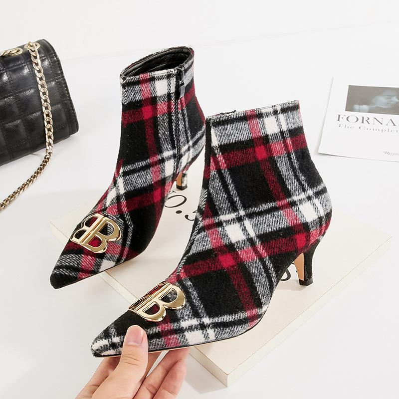 3811c1050aa2 Mixed Color Plaid Kitten Heel Women Boots Metal Decoration Sexy ...