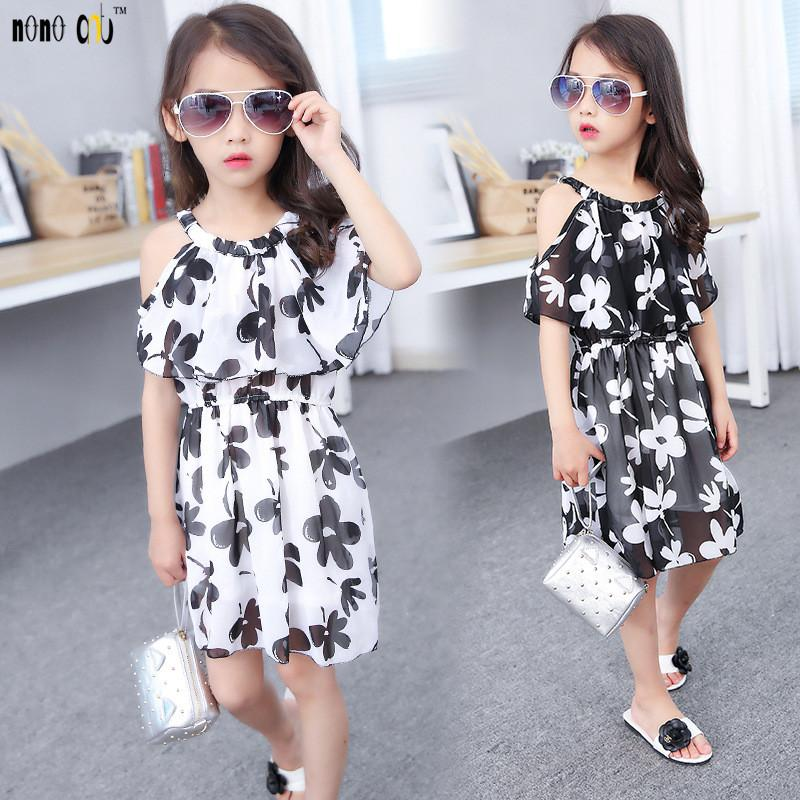 53c3761bd4371 Moda Çocuk # 39; ın Giyim Genç Kız Elbise Rahat Straplez Çiçek Çocuklar  Şifon Elbiseler Yaz Kız Prenses Elbise 5-12 Yıl