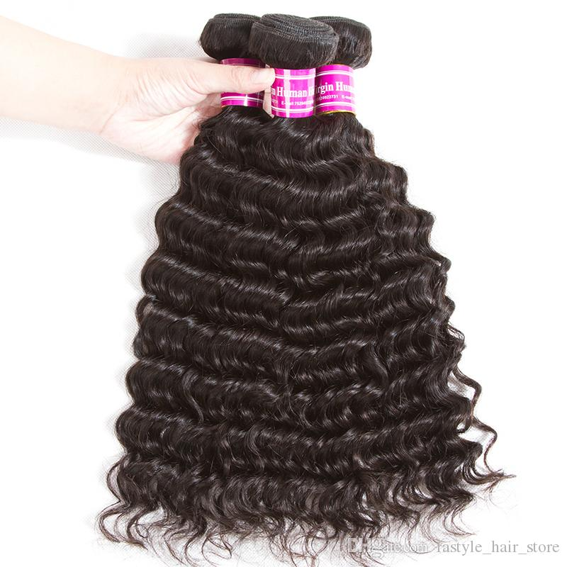 Fastyle Deep Wave Bundles with Closure Brazilian Virgin Human Hair Extension Peruvian Indian Malaysian Remy Hair Lace Frontal with Bundles