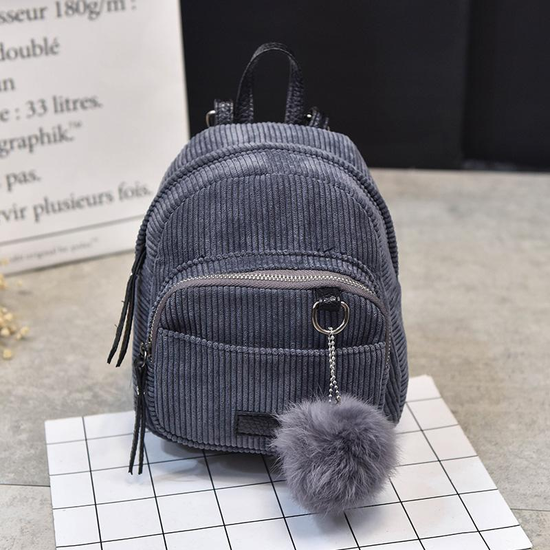 72d49a8a07 2018 Brand New Fashion Women Girls Corduroy Mini Backpack Travel School Backpack  Rucksack Furry Ball Travel Bags Gregory Backpacks Army Backpack From ...