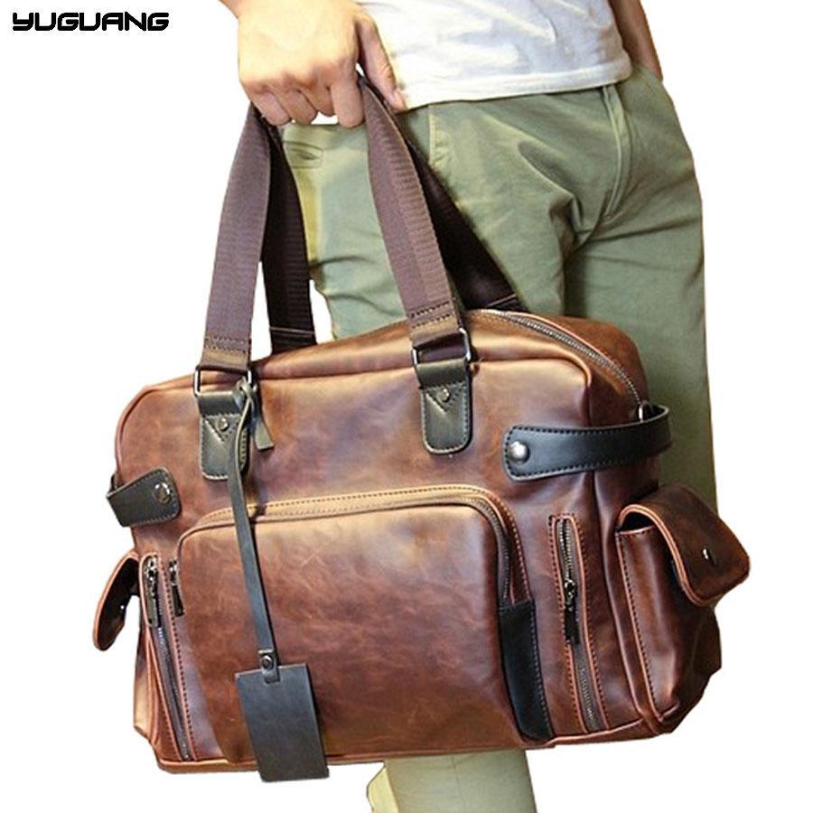 1969d7742867 Men Crazy Horse Leather Travel Bags Luxury Style Men Luggage Duffle Bag  Retro Large Capacity Handbag Tote Fashion Shoulder Bag Bags Online Shopping  Travel ...