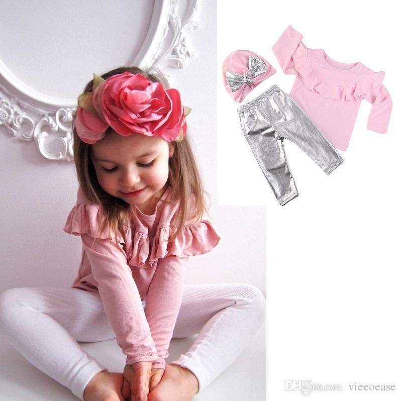 Vieeoease Girls Sets Christmas Stringy Selvedge Long Sleeve T-shirt + Silver Leggings+ Bow Cap 3 pcs for Autumn Girls Clothes HX-814