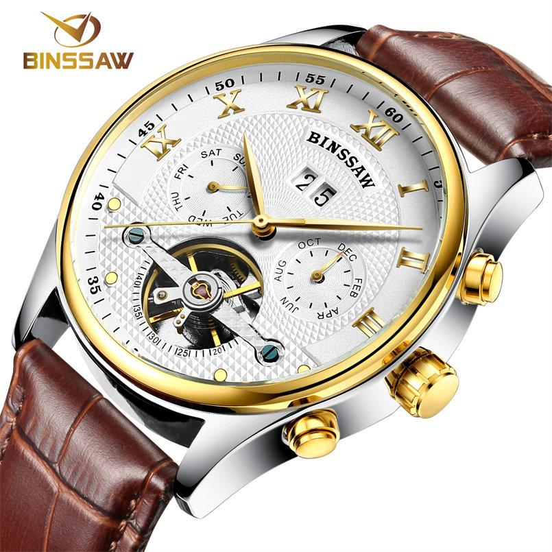 bcc2e31762f6 Compre Al Por Mayor Binssaw Nuevos Hombres De Cuero Reloj De Pulsera  Original De Lujo Superior De La Marca Grande De Moda Automática Deportes  Relojes ...