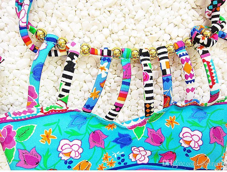 Verano Folk-Custom Bohemia Style Traje de baño de dos piezas para niñas con sombrero de natación Trajes de baño lindos Traje de baño para bebés es gratis Elija