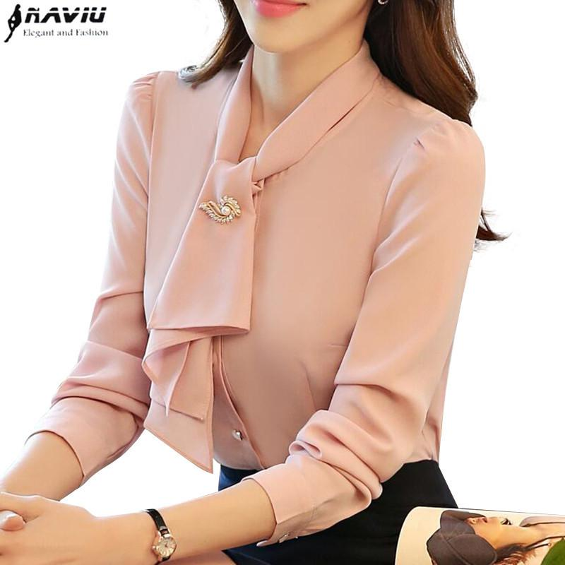 160492acb73 2019 Fashion Long Sleeve Women Slim Shirt White Pink Solid Color Elegant  Ruffles Chiffon Blouse Office Ladies Formal Plus Size Tops Y1891109 From  Zhengrui05 ...