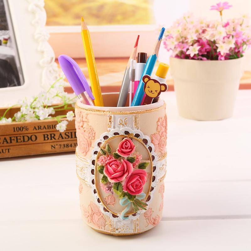 Cool Korean Style Retro Resin Rose Flower Pencil Holder School Office Supplies Students Pen Holders Desktop Storage Box Gift Cc Transpa Case