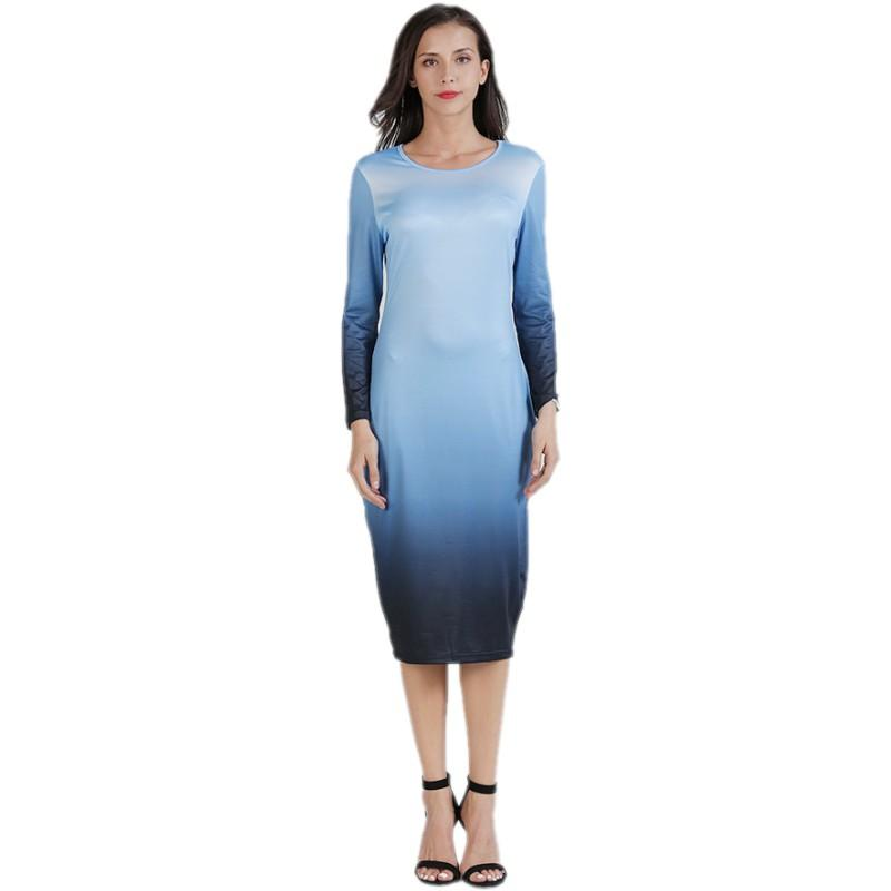 YSMARKET Autumn Fashion Gradient Long Sleeve Dresses For Women Cheap Clothes  O Neck Sexy Bodycon Midi Dress E8246 Green Dresses For Teens Womens Black  ... 29a94ef8a