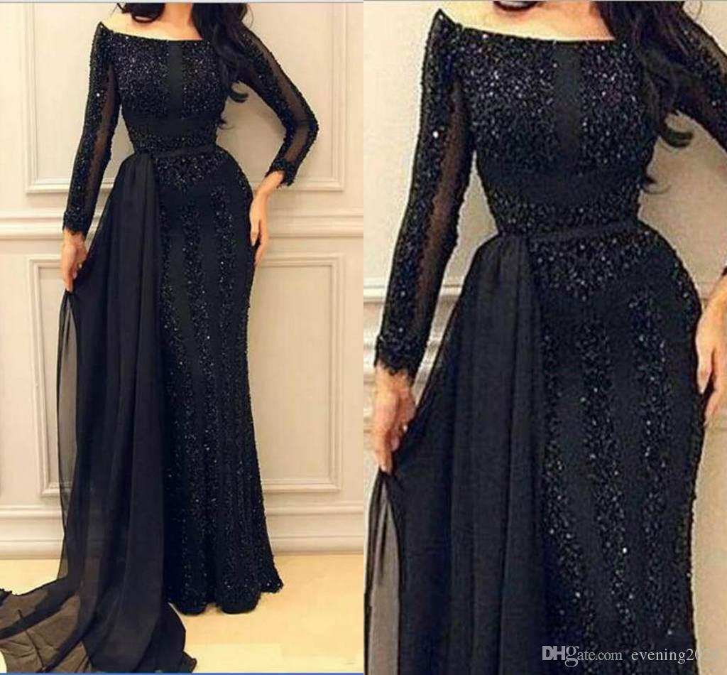 ed1ea791365 Black Lace Mermaid Evening Dresses Off Shoulder Beaded Sequins Dress With  Jacket Special Occasion Dresses Custom Made Fashion Prom Dresses Formal  Dresses ...