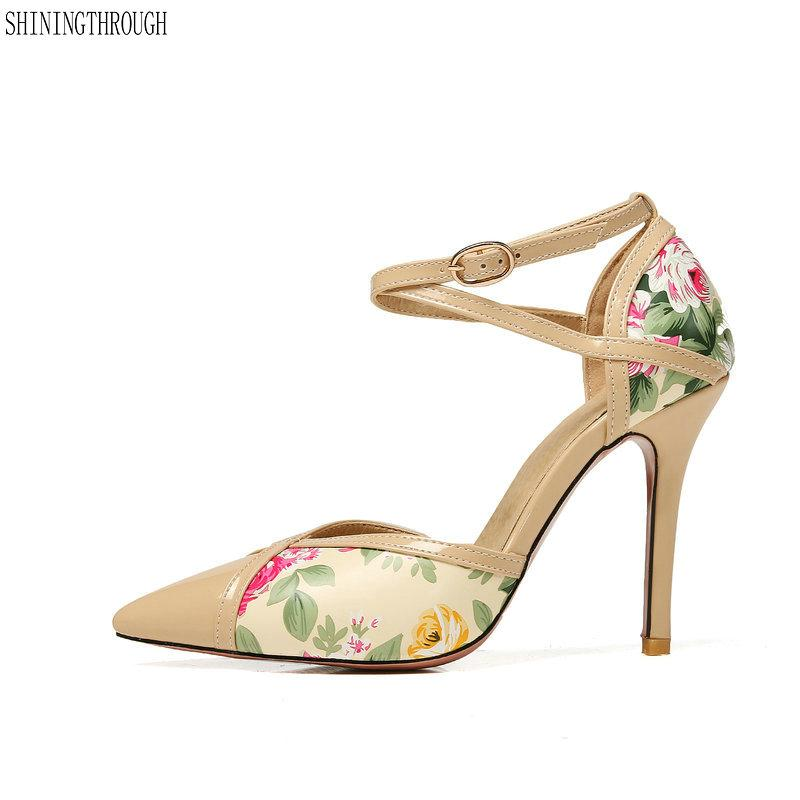7a1c650e6d9 2018 Summer Ankle Strap High Heels Shoes Flowers Printed Ankle Strap  Wedding Shoes Woman Ladies Women Pumps Shoe Boat Shoes From Yigu008