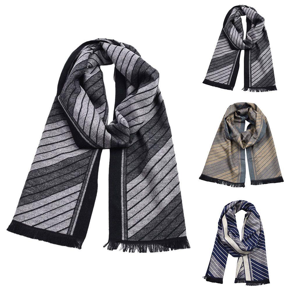 03d6ceee58d KLV 1PC Winter Men Scarf Classic Shawl Fringe Stripe Tassel Long Plaid Soft  Warm Cotton Blends Scarf Navy,Gold,Dark gray z1009