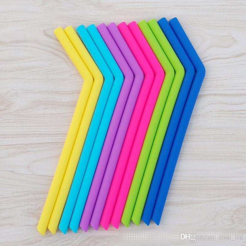 Silicone drinking straws for cups food grade 25cm silicone straight bent straws sets straws brushes drinking starws B