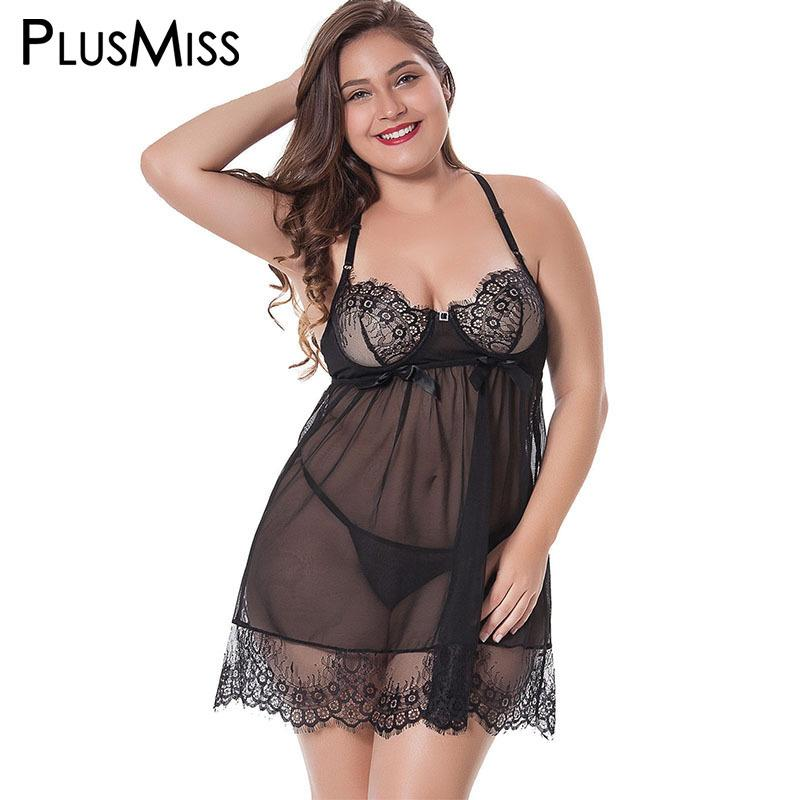775804cd8d3 PlusMiss Plus Size Transparent Lingerie Sexy Hot Erotic Big Size Lace See  Through Babydoll Chemise Sex Baby Doll Dress Costume Y18102205 Loungewear  For ...