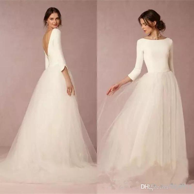 Discount Cheap Modest Winter Wedding Dresses A Line Satin