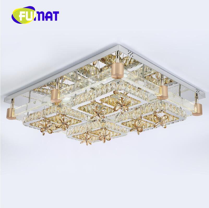 2018 Modern crystal lamp rectangle living room lamps brief led ceiling light lighting bubble column