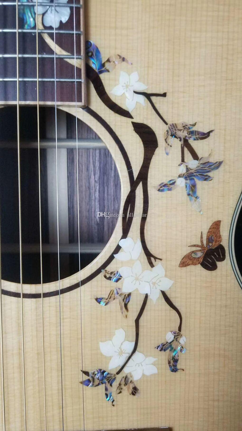 2018 New China Acoustic guitar flowers inlays body 41 inch OM model natural solid spruce guitar red rosewood binding body Chinese guitars